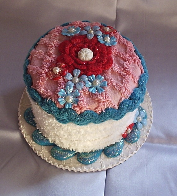 Fake Cake Centerpiece/Gift Box for Birthday Gift in pink, red, cream and turquoise, with vintage chenille, rickrack, vintage flower beads