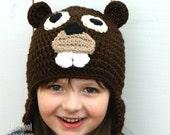 Beaver Hat - Animal Earflap Hat - Newborn - Adult