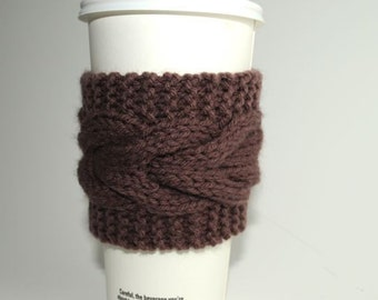 Solid Cable Knit Coffee Cup Cozy - Custom Colour Choice