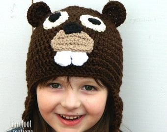 Beaver Hat - Animal Earflap Hat - Newborn - Adult