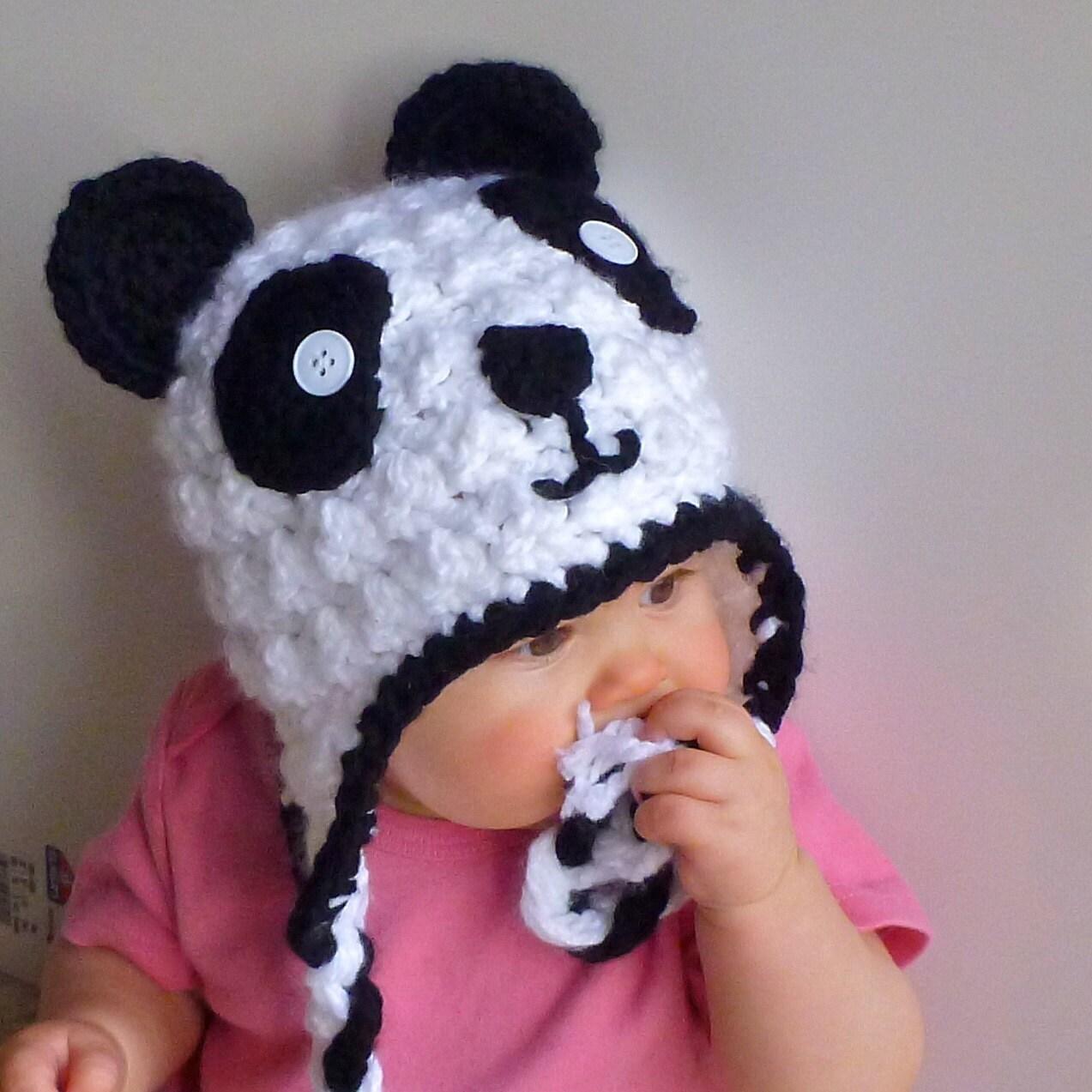 Panda Bear Earflap Hat Crochet Pattern : Panda Earflap Crochet Hat Newborn Adult by BarefootTams on ...