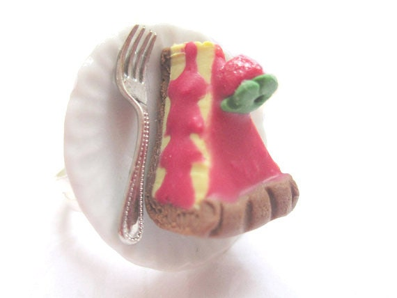 Royal Tart Slice Ring, Miniature Food Jewelry, Polymer Clay Food Jewelry, Adventure Time