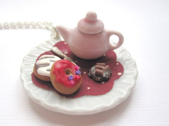 Pink Teapot and Donut Pendant