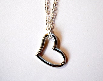 Heart Charm Silver Necklace