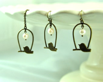 Brass Bird and Pearl Necklace and Earring Set