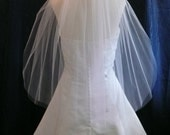 Elegant  Shimmer Tulle  two tier Elbow length Bridal Veil Very sheer with Plain Cut Edge