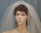 Candlelight Ivory  Beaded Edge Wedding  Bridal Veil Elbow length Swarovski Crystals Bugle Beads Veils