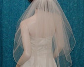 2 Tier  Elbow Length Bridal veil with pencil edge bottom tier and sheer plain edge blusher