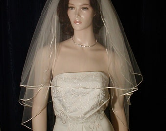 wedding veils bridal veils 3 Tier bridal veil Graceful and Traditional finished with a tiny Satin Ribbon Trim