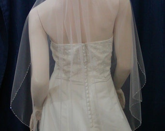 Wedding Veil  Bridal Veil Crystal beaded Edge Elbow Length