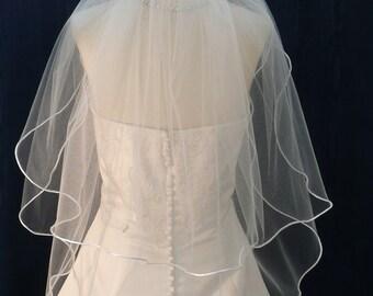 2 Tier Wedding Bridal Veil Elbow /Waist length edged with a Satin Rattail Cord Trim