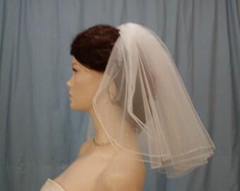 Wedding bridal Veil Short 2 tier flyaway  with a pencil edge