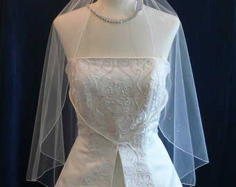 Angel Cut Bridal Veil accented with a pretty pattern of sparkling Swarovksi Rhinestones
