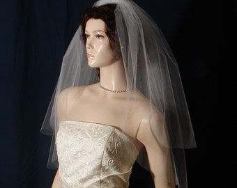 Classic Elegance in a 2 tier  Elbow length Bridal veil with a super sheer plain cut edge