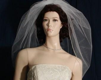 Shimmer Tulle Trumpet  bridal veil sprinkled with Swarovski rhinestones    Silver Metallic Edge