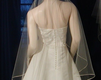 Satin trim Cascading /Waterfall Style fingertip Bridal Veil