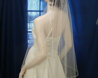 Bridal veil wedding veils Fingertip Cascading /Waterfall Style  trimmed with the tiniest of Satin Ribbon