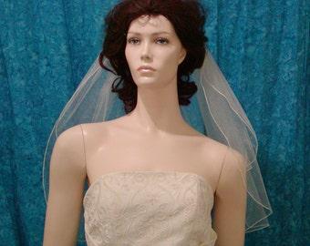 SHIMMER TULLE  Elbow /Waist length 2Tier wedding Bridal Veil  Simply Elegant Pencil Edge