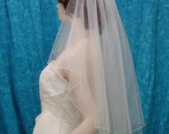2 Tier Fingertip Bridal Wedding Veil Center Gathered / Butterfly Accented with Scattered Swarovski Crystals