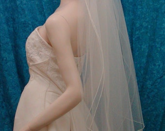 Traditional Wedding Bridal Veil  2 Tier-  select a length -  with a delicate Pencil Edge