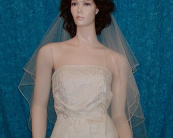 Pencil edged Two Tier Fingertip center gathered bridal veil