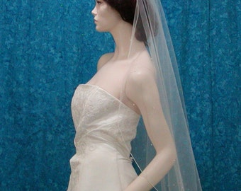 Cascading Waterfall Style fingertip length  Bridal Veil with scattered Swarovski Crystals