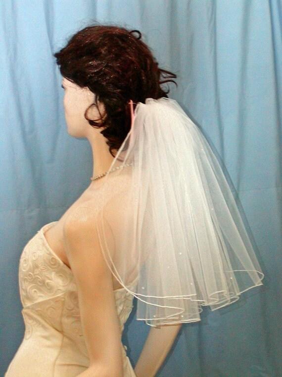 Shoulder Length Flyaway Bridal Veil DIAMOND WHITE 2