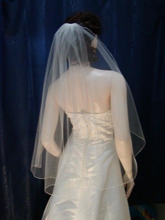 cascade wedding veil 1 tier fingertip length with pencil edge cascading waterfall bridal veil