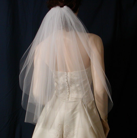 Classic Elegance in a 2 tier  Elbow length Bridal veil with a super sheer plain cut edge