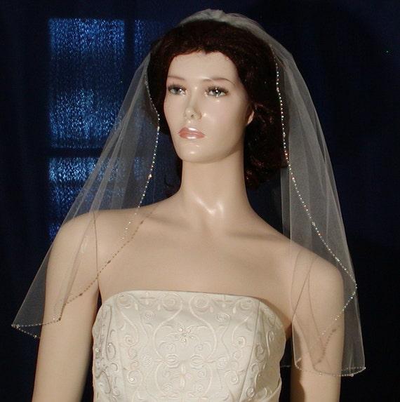 "Crystal Beaded Edge 25"" long Bridal veil Swarovski Crystals Shining Rocaille Beads"