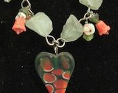 sweet watermelon-lampwork pendant necklace