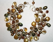 Autumn Bliss sterling silver and pearls and lampwork dangle bracelet