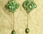 Spring green princess bride earrings