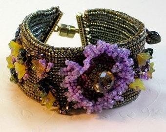 Flowers and vines cuff bracelet
