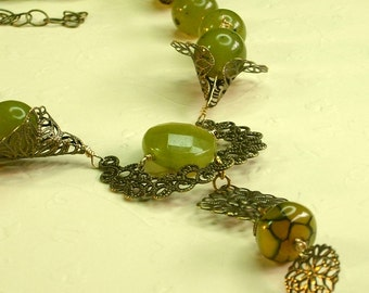 jade and brass filagree necklace