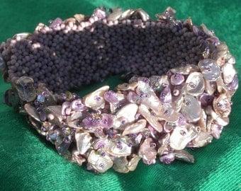 Keshi Pearl  Woven  Cuff Bracelet