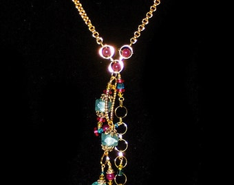 BEACH FRONT ruby and aqua  necklace