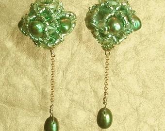 Spring green princess bride earrings
