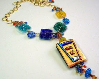 Necklace Pendant  Colorful Dichroic Glass