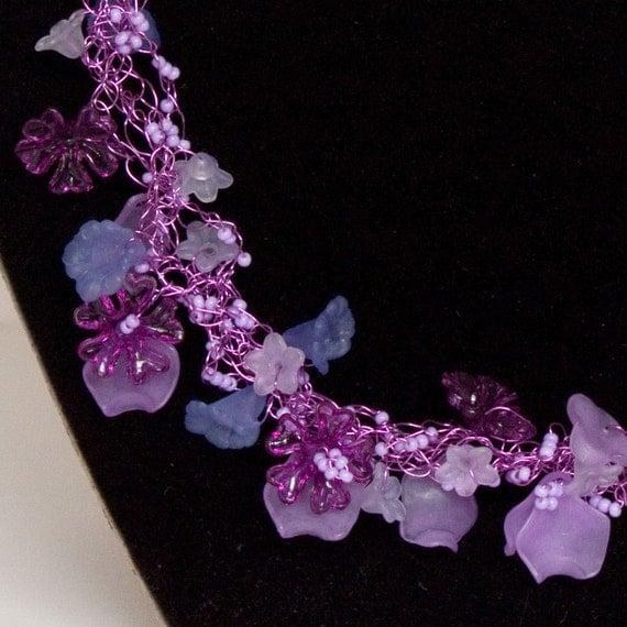 Wire Crochet Necklace, Lavender fairy field