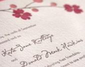 Blossom pressed flower - Letterpress Wedding Invitation - cocoa\/red on pearl