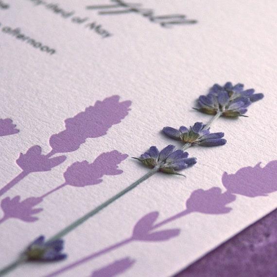 Lavender Field - pressed flower Letterpress Wedding Invitation - lavender/cocoa on pearl