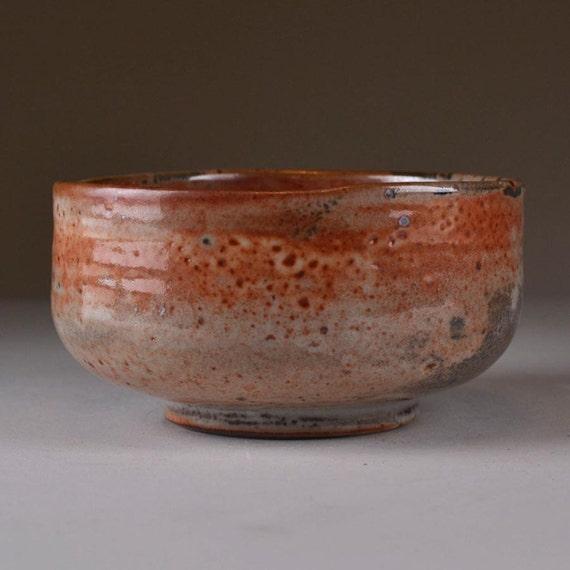 Shoe Shaped Shino Stoneware Tea Bowl (kutsugata chawan)