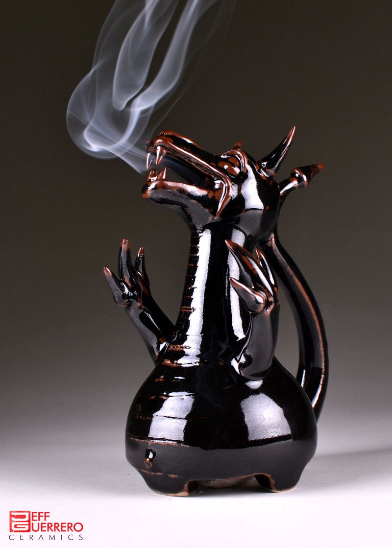 Smoking Dragon Ceramic Incense Burner