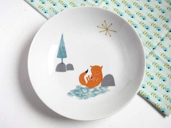 Bowl or soup plate - Sleeping fox