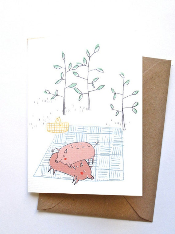 Card - picnic pigs in love