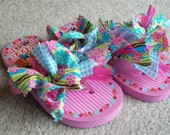 Mopsie Flopsies-Knotted Fabric Embellished (turquiose\/hot pink\/lime green) Flip Flops - Child 9\/10