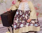Ready to Ship 3T Back to School Fall Girls Peasant Dress in Boho Chocolate Childrens Clothing