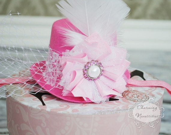 Mini Top Hat Fascinator Headband Pink and White for Newborn Infant Toddler Girl by Charming Necessities