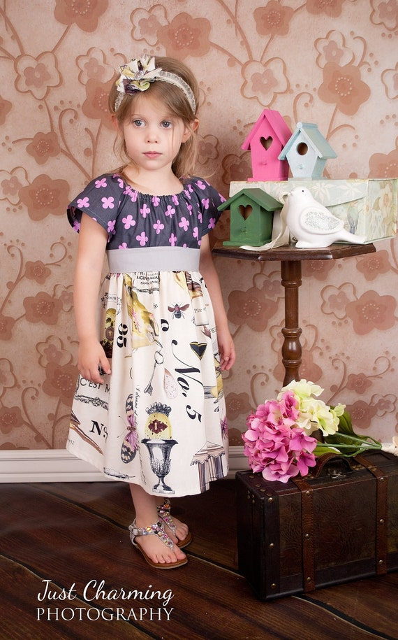 Summer Peasant Dress in Spreading Her Wings Toddler Girls